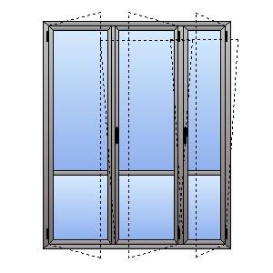 Porta Finestra 3 Ante Con Montante Fisso E Traverso Atll